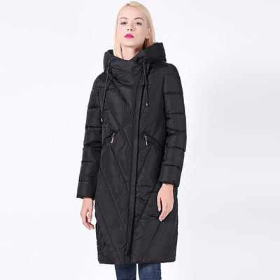 Long Collar Hooded Thick Jacket