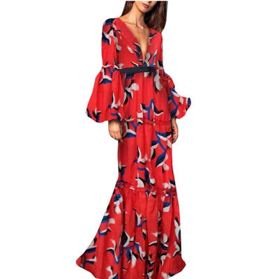 Deep V-Neck Lantern Long Sleeve Dress