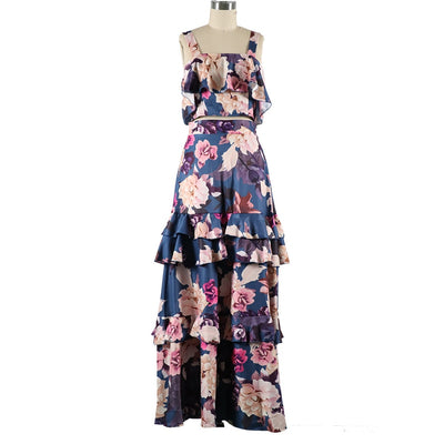 Two Piece Set. Skirt Set Crop Top with Maxi Floral Long Skirt