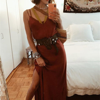 Satin V-Neck Sleeveless Dress