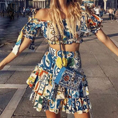Printed Top+Casual Ruffles Mini Skirts Two-Pieces Set
