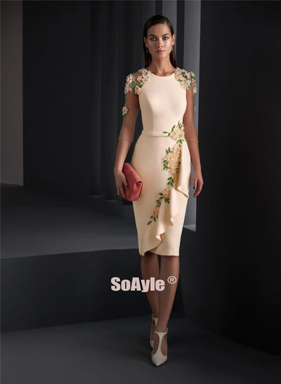 Evening O-Neckline Pencil Crepe Evening Dress