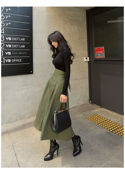 Korean Fashion Wild High Waist Bow Slim Skirts