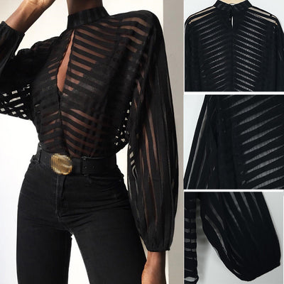 Mesh Net  Sheer Long Sleeve Shirt