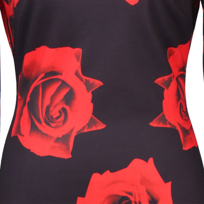 Red Rose flowers Printed One Piece Dress