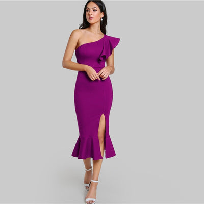 Purple Ruffle One Shoulder Slit Dress - Piazza-Mall