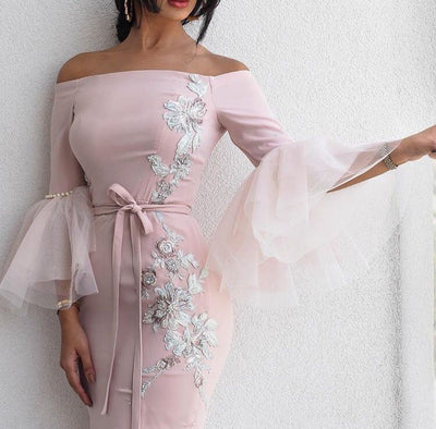 ishopcruise - Pink Evening Dresses Long Arabic Applique Beaded