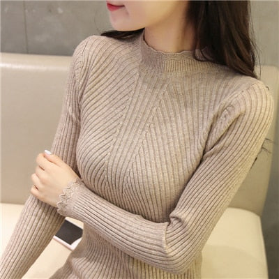 Sweaters And Pullovers Solid Color - Khaki / One Size