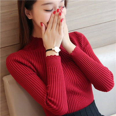 Sweaters And Pullovers Solid Color - Red / One Size