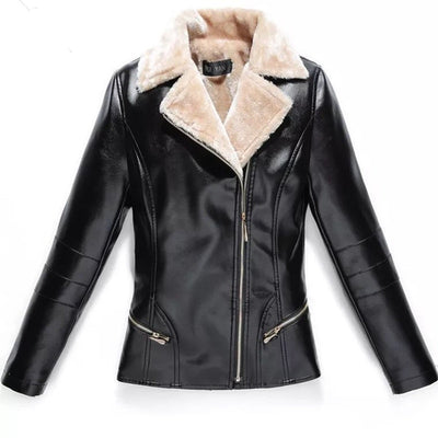 Women Leather Jacket Plus Velvet