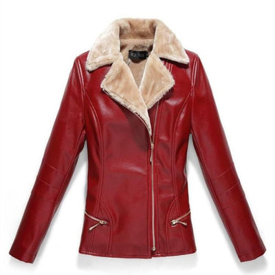 Women Leather Jacket Plus Velvet - red / XL - red / 4XL - red / 5XL - red / 6XL - red / 7XL - red / L - red / XXL - red / XXXL