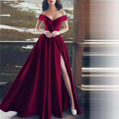 Satin Boat Neck Evening Long Party Dresses