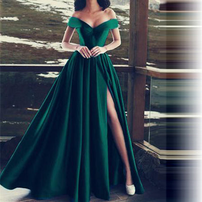 Satin Boat Neck Evening Long Party Dresses - as pic / 6 - as pic / 2 - as pic / 4 - as pic / 10 - as pic / 12 - as pic / 14 - as pic / 14W - as pic / 16W - as pic / 18W - as pic / Custom Size - as pic / 16 - as pic / 8