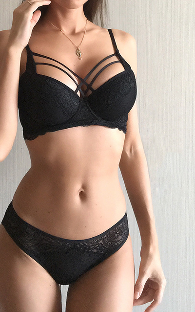 Thick Cotton Underwear set with Bandage Push Up Black Bra - Piazza-Mall