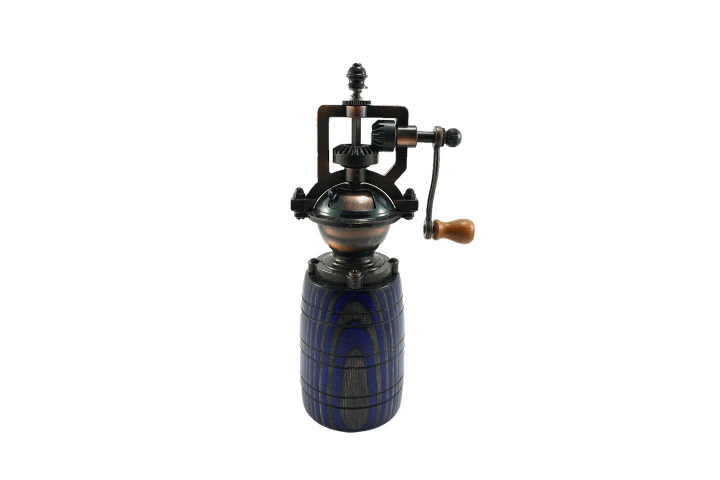 Colored Wood Barrel-shaped Peppermill - Blue, Gray