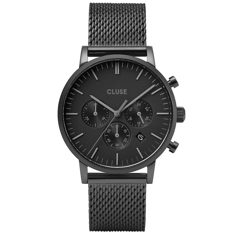 Cluse Aravis Chrono in Black Mesh