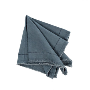 Frayed Edge Napkin in Grey Blue