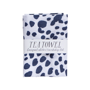 Navy on White Dots Tea Towel