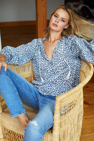 Emerson Fry Bardot Top in Charcoal Leopard