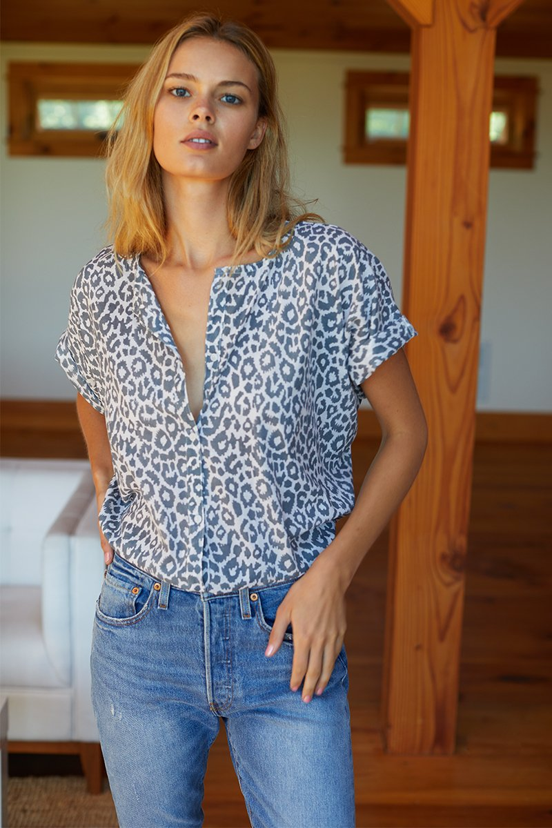 Emerson Fry India Button Down in Charcoal Leopard