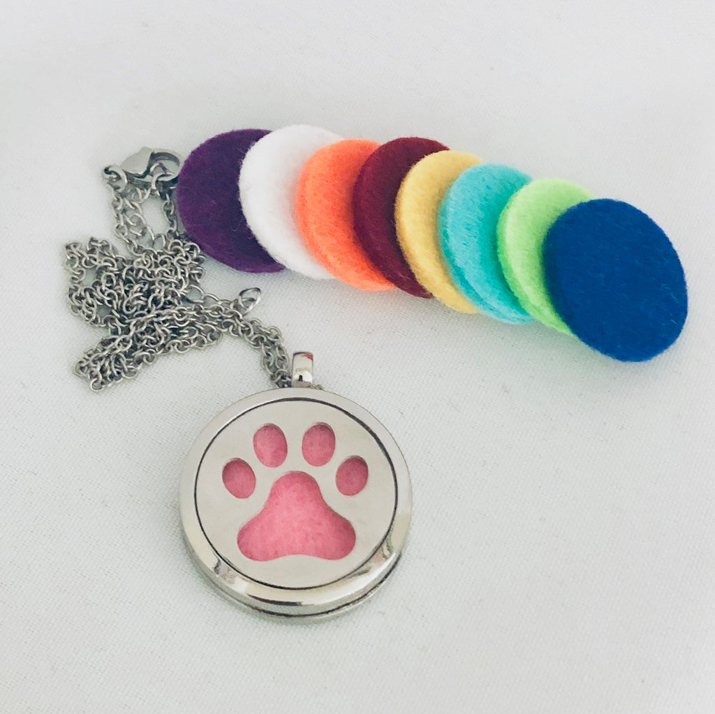 Paw Diffuser Necklace - Silver