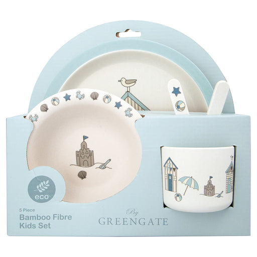 GreenGate Bambus Kinder Dinner Set Ellison Pale Blue 4er Set