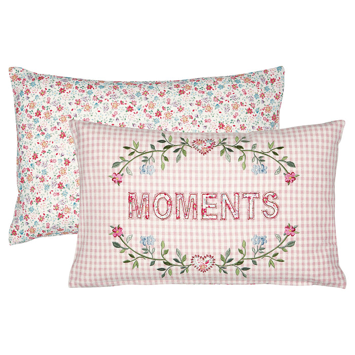 GreenGate Kissenhülle Moments Pale Pink with embroidery 30x50cm