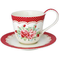 GreenGate Tasse & Untertasse Mary White