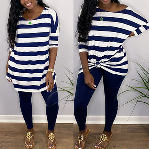 Viladress 2020 Striped T-shirt and Women Pants Two Pieces At-home Outfit