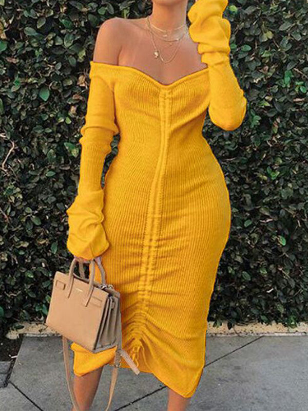 Viladress 2020 Autumn dress Knitting Dress Midi Dress US Women Dress