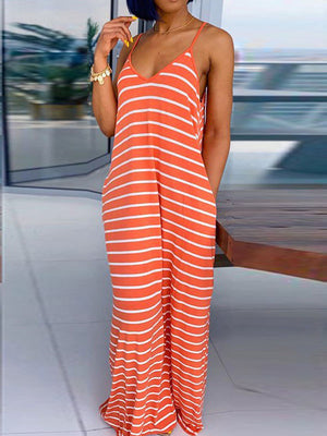 Viladress women maxi Dress Striped Dress Casual Dress Summer Dress