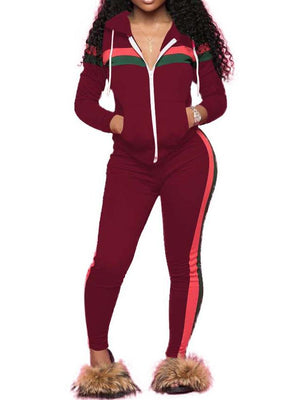 Patchwork Two Pieces Sweat Suit