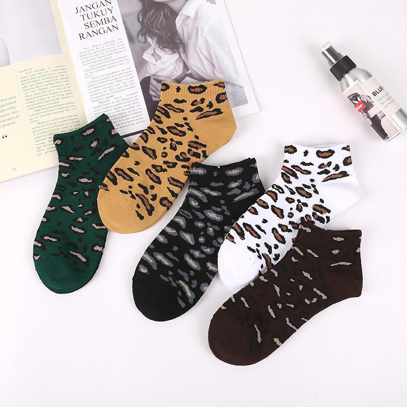 Viladress Leopard Printing Short Socks Women Socks【10 Pairs=5 color*2】