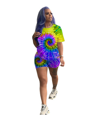 Viladress Multicolor Printing Women T-shirt and Shorts Set
