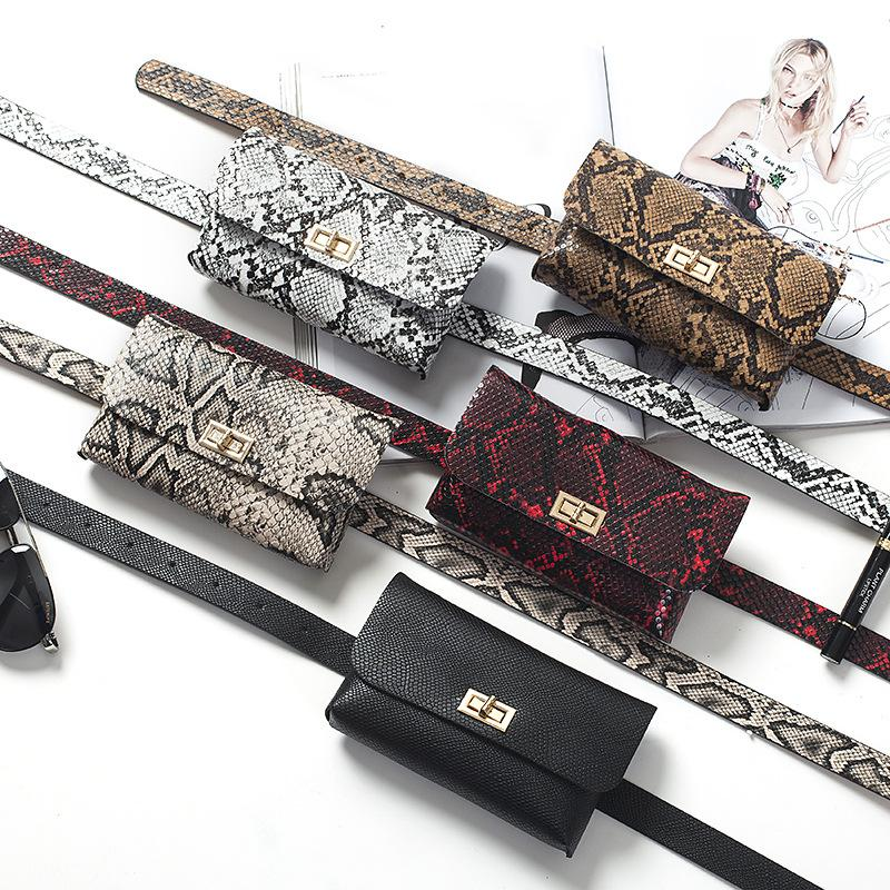 Viladress Snake Skin Printing Women Waist Bag PU Belt
