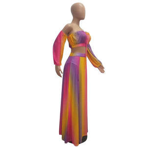 Viladress Multi Color Striped Crop Tops and Maxi Skirt