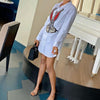 Viladress Pearls Decorated Women Shirt Dress