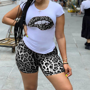 Viladress Leopard Print Women t-shirt and Shorts Set
