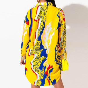 Viladress Fashion Print Women Shirt Dress