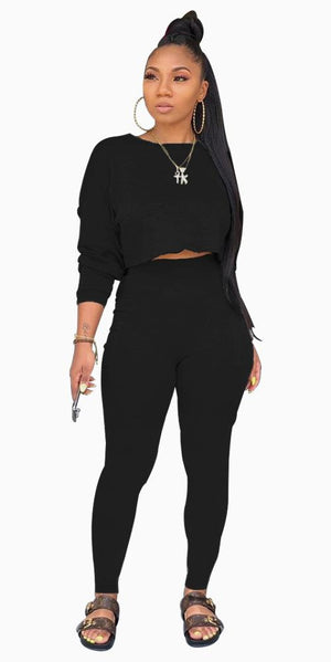 Viladress Women Crop tops and Sweat Pants Two Pieces Outfits
