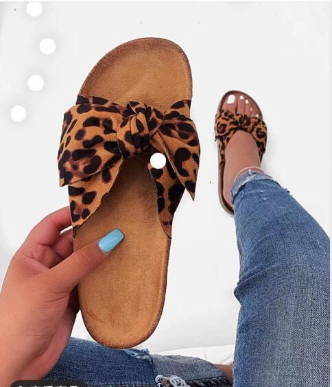 Viladress Bowknot Decorated Slippers Leopard Slippers Women Sandals