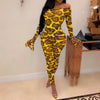Viladress Slash Neck Cheetah Pants and Bodaysuit Two Pieces Set