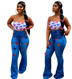 Viladress Butter-fly Decorated Women Flare Jeans