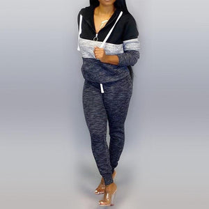 Viladress Patchwork Women Hoodies and Pants Set