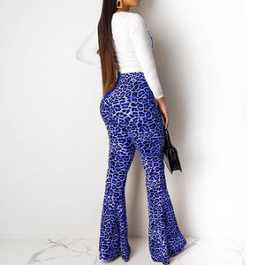 Viladress White T-shirt and Leopard Flare Pants Sets