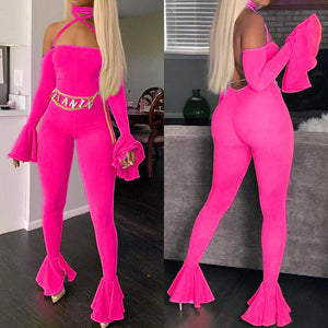 Viladress Halter Bandage Women Sexy Jumpsuit with Flare Sleeves