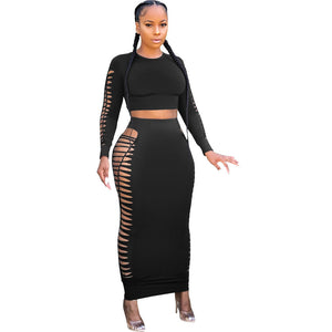 Viladress hollow Out Women Midi Dress two Pieces Midi Dree Crop Tops and Midi Skirt Two PIeces Dress
