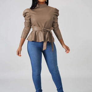 Viladress Flounced PU Tops 2019 Women PU Tops