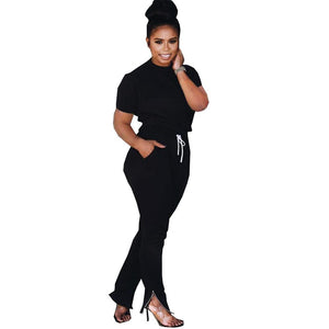 Viladress Women Short Sleeves T-shirt and Sweat Pants Two Pieces Set