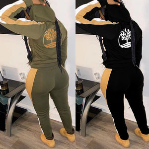 Viladress Hooded Tops and Patchwork Pants Set
